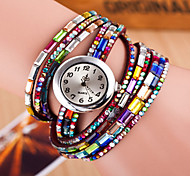 cheap -Women's Quartz Bracelet Watch Colorful Leather Band Sparkle Bohemian Fashion Black White Red