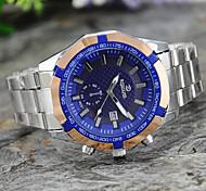 Masculino Relógio de Pulso Quartzo Metal Banda Prata Branco Preto Azul