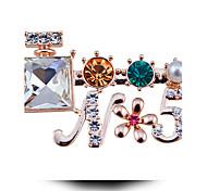 флакон духов пять алмазов жемчужина брошь цветок буквы