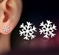 cheap -925 Sterling Silver Snowflake Earrings For Women Korean Style Stud Earrings Love Girlfriend Birthday New Year Gift