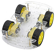 cheap -Dual-layer 4-Motor Smart Car Chassis w/ Speed Measuring Coded Disc - Black + Yellow