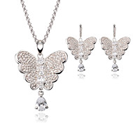 Women's Crystal Rhinestone Wedding Party Alloy Butterfly Animal 1 Pair of Earrings Necklaces