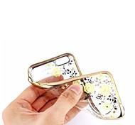 chapeamento de o teste padrão de flor macio TPU com caso da tampa do brilho de diamantes de volta para 6s iphone plus / 6 mais