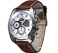 Three Eyes Clock Quartz Fashion Watch Men Sports Leather Strap Watches Casual Hours Dress Wristwatch Wrist Watch Cool Watch Unique Watch