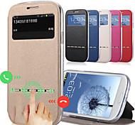 Недорогие -Для Кейс для  Samsung Galaxy Бумажник для карт / со стендом / с окошком / Флип Кейс для Чехол Кейс для Один цвет Искусственная кожа