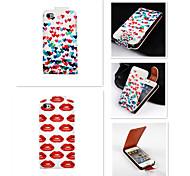 up-down Liebe und rote Lippen Muster wiederum über PU-Leder Ganzkörper-Case für iPhone 4 / 4s