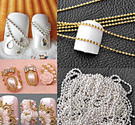 cheap -1M Manicure a Metal Chain of High-Quality Small Ball Yuanzhu Chain DIY Nail (Gold and Silver Decoration Optional)