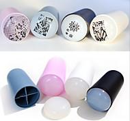 Недорогие -1set новый стиль округлость рук хвостовиком мягкий удобный кремнезем ногтей Стампер скребок (цвет случайный)