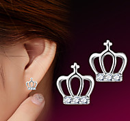cheap -Women's Stud Earrings - Sterling Silver, Silver Crown For Wedding / Party / Daily