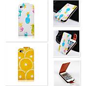 Ananas Orange Muster up-down wiederum über PU-Leder Ganzkörper-Case für iPhone 4 / 4s