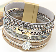 New Fashion Charm Women Leather Rhinestone Lucky Rivet Magnetic Width Bangle Bracelet Christmas Gifts