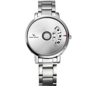 V6® Men's Fashion Binary Display Silver Steel Band Quartz Watch Cool Watch Unique Watch