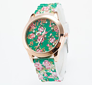 Hot Sale Newest Arrival Ladies Wristwatch Quartz Lava Silicone Band Women's Golden Case Flower Printing For Dial Fashion Unique Watches Strap Watch