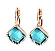HKTC Dazzling Cz Jewelry 18k Rose Gold Plated Blue Austria Crystal Rhombus Shape Drop Earrings