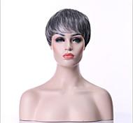 hairjoy Women Synthetic Wig Short Curly Grey Black Wig Halloween Wig Carnival Wig Costume Wig