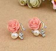 European Style Roses Pearl Rhinestone Asymmetric Fashion Stud Earrings