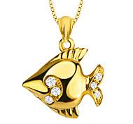 bonito tropical ouro 18k peixe pingente banhado design especial de jóias de cristal para as mulheres / homens p30139 presente