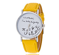 Women's Fashion Watch Quartz PU Band Sparkle Word Watch Black White Blue Red Green Yellow