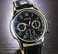 cheap -YAZOLE Men's Quartz Wrist Watch Hot Sale Leather Band Charm Black Brown