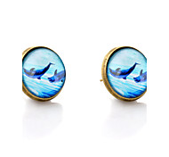 Lureme® Vintage Jewelry Time Gem Series Ocean Dolphin Antique Bronze Disc Stud Earrings for Women and Girl