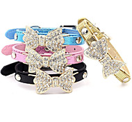 cheap -Cat Dog Collar Adjustable / Retractable Rhinestone Bowknot PU Leather Black Blue Pink Golden