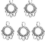 Недорогие -фура multifunctinal из нержавеющей стали расширяет кольцо для ключей с 8 кольцами - серебро (5 шт)