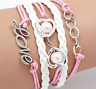 cheap -Men's Women's Leather Wrap Bracelet - Multi Layer Inspirational LOVE Pink Bracelet For Daily Casual Sports