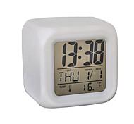 7 Farb-LED-Kubik digitalen Wecker Kalender Thermometer glühend (weiß, 4xAAA)