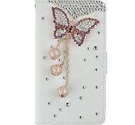 ручная работа побрякушки кристалла алмаза драгоценный камень пу кожаный чехол с гнездами для карт и магнитным замком для iPhone5 / 5s / SE