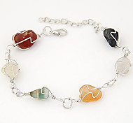 Women's European Style Fashion Metal Multicolor Crushed Stone Charm Bracelets Christmas Gifts