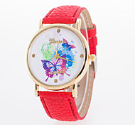 Women's Fashion Watch Quartz Leather Band Butterfly White Blue Red Orange Brown Green Pink Yellow