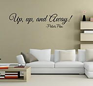 """Up Up And Away Peter Pan"" Wall Sticker Quotes Art Vinyl Decals Home Decor Living Room Decorative Sticker"