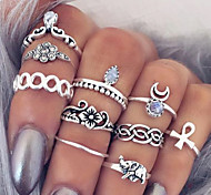 Women's Statement Rings Knuckle Ring Bohemian European Fashion Vintage Personalized Synthetic Gemstones Alloy Flower Cross Teardrop Moon