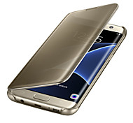 cheap -Case For Samsung Galaxy Samsung Galaxy S7 Edge Auto Sleep / Wake Plating Mirror Flip Transparent Full Body Cases Solid Color PC for S8