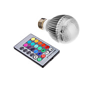 3W E26/E27 LED Globe Bulbs leds Integrate LED 500lm RGB Remote-Controlled AC 85-265