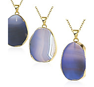 MISSING U Women's Irregular Natural Pure Crystal Agate Stone 18K Gold Plated Pendant Necklace One Piece Jewelry