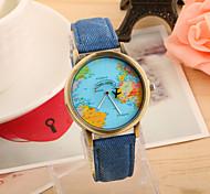 Недорогие -Жен. Модные часы Кварцевый PU Группа Винтаж World Map Pattern Черный Белый Синий Красный Зеленый Желтый