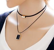 Недорогие -Жен. Ожерелья-бархатки  -  Двойной слой Простой стиль Черный Ожерелье Назначение Повседневные