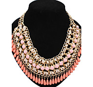 cheap -Women's Pearl Pearl Necklace Statement Necklace - Statement Cute Style Fashion European Yellow Fuchsia Green Blue Pink Necklace For