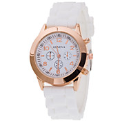 Women's Wrist Watch Geneva New Fashion Gold Shell Silicone Band Quartz Watch(Assorted Colors) Cool Watches Unique Watches