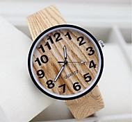 cheap -Men's Women's Couple's Fashion Watch Unique Creative Watch Wood Watch Casual Watch Quartz Fabric Band Black White Beige