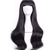 Fashion Black Wavy Curly Sexy Pelucas Natural Realistic Wig Cosplay Wigs Perruque Cheap Synthetic Hair Wig Bangs