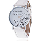 cheap -Whatever I'm Late Anyway Watch With Leather Band/ Unisex Word Watch Quartz Analog Wrist Strap Watch Cool Watches Unique Watches Fashion Watch