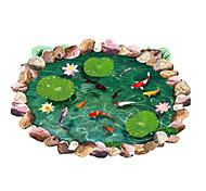 Waterproof 3D Lotus Pond Goldfish Bathroom Wall Stickers Environmental Floor Decals