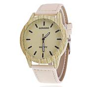 Women/Men's Wooden Leather Band Analog Round Case  Wrist Watch Jewelry