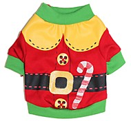 Cat Dog Costume Shirt / T-Shirt Dog Clothes Cute Cosplay Christmas Cartoon Red Green Costume For Pets