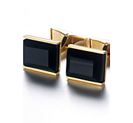 Men's Fashion Black Stone Alloy French Shirt Cufflinks (1-Pair) Christmas Gifts