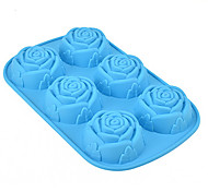 cheap -Rose Muffin Sweet Candy Jelly Silicone Fondant Cake Mold Baking Pan Tray Random Color