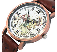 Women/Men's Fabric Denim Band Analog World Map Case  Wrist Watch Jewelry Fashion Watch