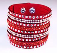Женский Wrap Браслеты Кожаные браслеты Мода Богемия Стиль обожаемый бижутерия Кожа Стразы Искусственный бриллиант Сплав Геометрической